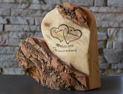 Ewige Liebe, Geschenk zur Hochzeit, Holzdeko, 28 cm ...