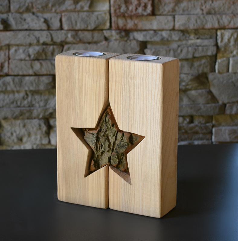 Teelichthalter mit Stern, Holzdeko | HOLZLIEBE-ISERLOHN ...