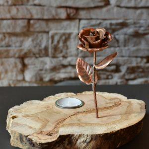 Kupfer-Rose, Kirschbaumwurzel, Teelicht-2-700